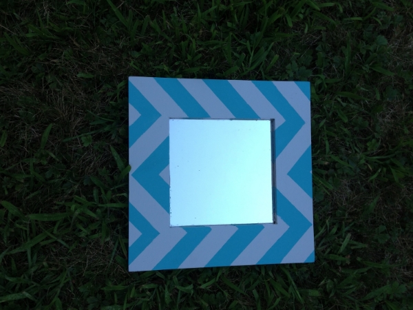 The finished product! Which is also for sale on my etsy.  https://www.etsy.com/listing/159720649/hand-painted-chevron-mirror