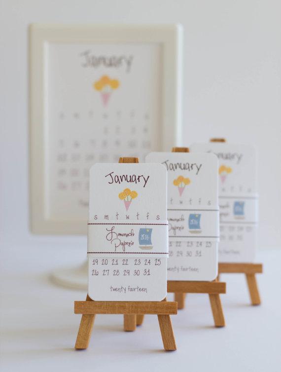 2014 Sweet Mini Calendar With Wooden Easel by    lemonadepaperie
