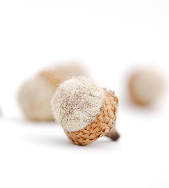 Felted Acorns, oatmeal taupe nature woodland decor white ecofriendly by  feltjar