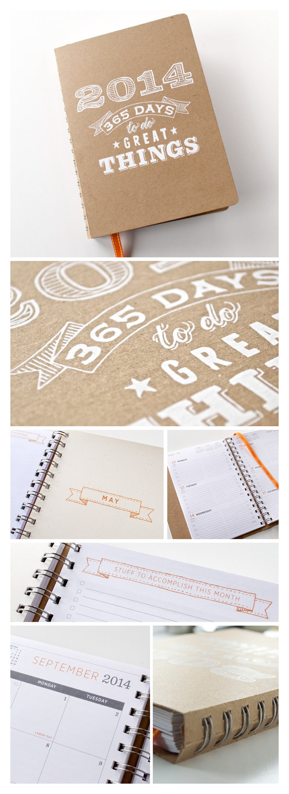2014 Planner | Medium Agenda Calendar with Weekly & Monthly Layouts | Screen Printed Cover by    GirlinGearStudio