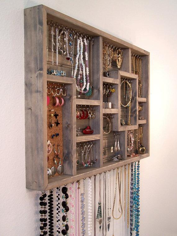 Jewelry Organizer Wall Hanging by  barbwireandbarnwood