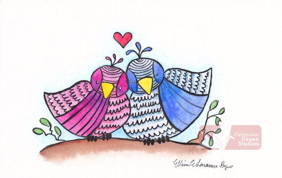 Love Birds: Original Watercolor painting- 4x8 by   crimsoncranestudios