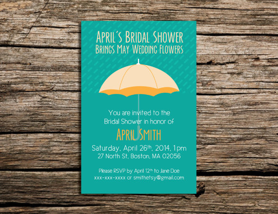 PRINTABLE April Wedding Showers Bring Bridal Showers Invitation by   WeekendCraft