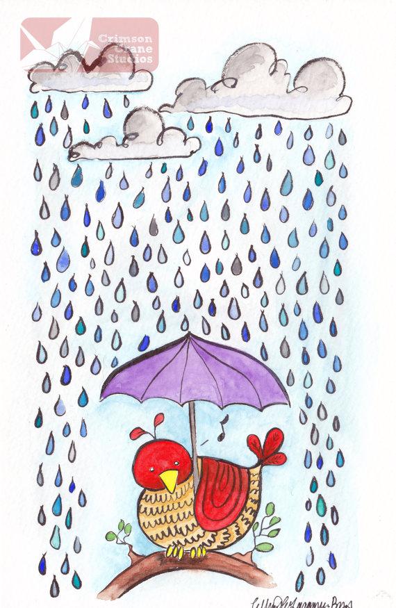 Singing in the Rain: Original Watercolor painting- 5.5x8.5 by   crimsoncranestudios