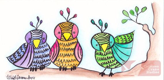 Birds of a Feather: Original Watercolor painting by  crimsoncranestudios