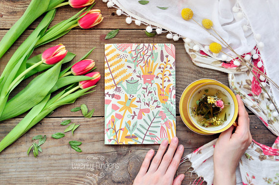 Eco notebook with garden illustration by   TheTwentyFingers