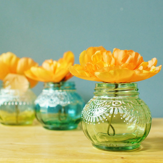 Trio of Round Jar Bud Vaseswith Delicate Lace Detailing by  LITdecor