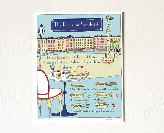 The Parisian Sandwich' Recipe Illustration by    GeraldineAdams