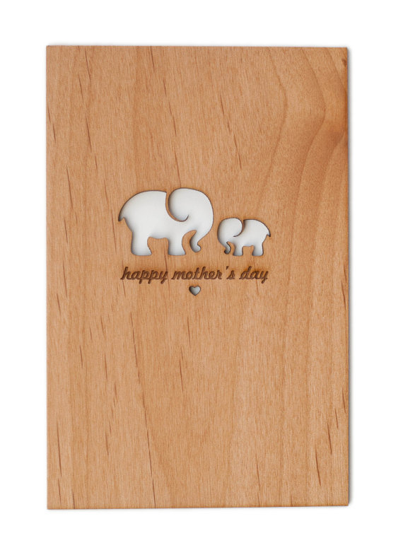 Mother's Day Card with Mom and Baby Elephants by   Cardtorial