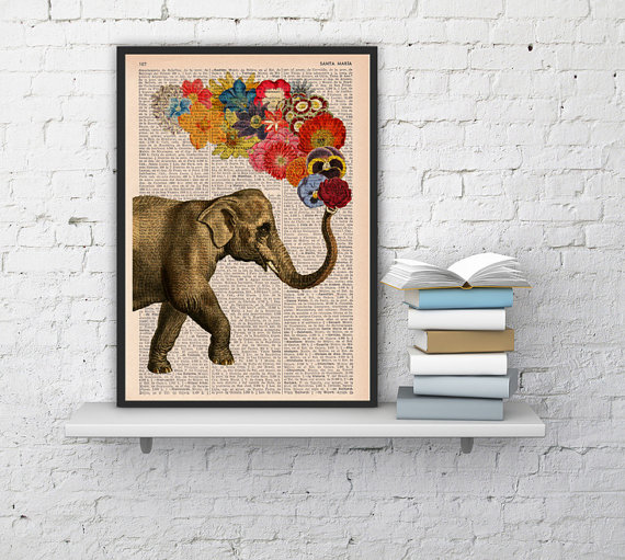 Elephant with Flowers - Love book print