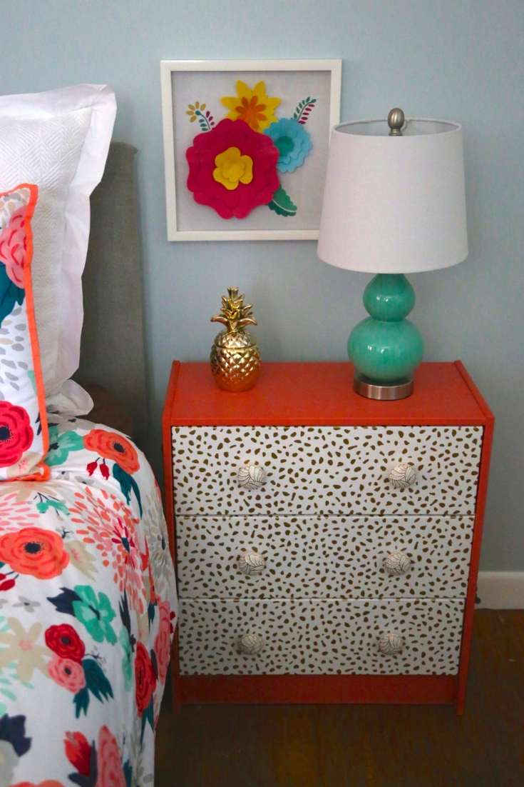 Painted night stand with wallpaper drawer fronts