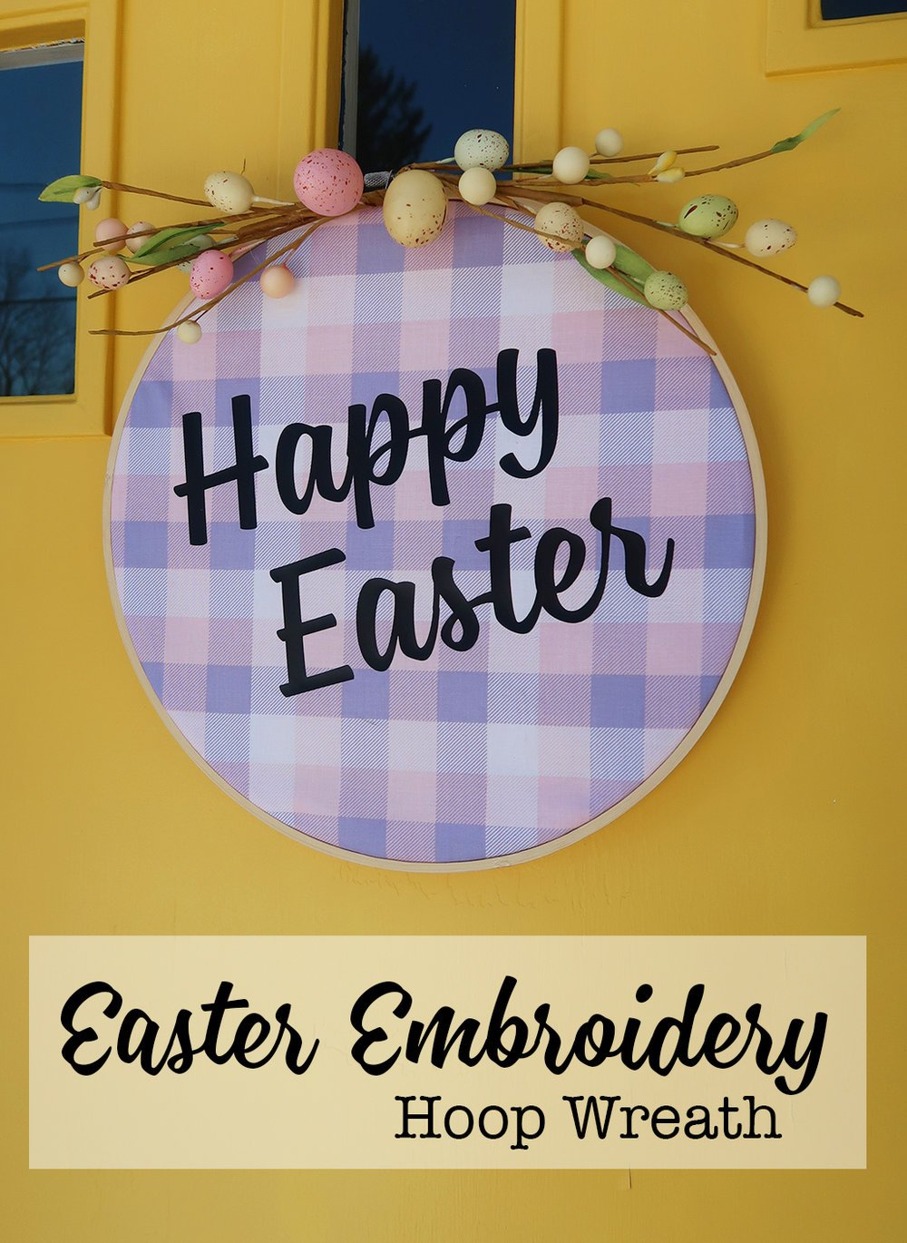 Easter Embroidery Hoop Wreath