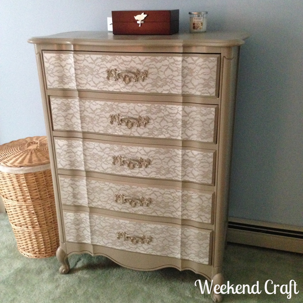 DIY Lace Painted Bedroom Set