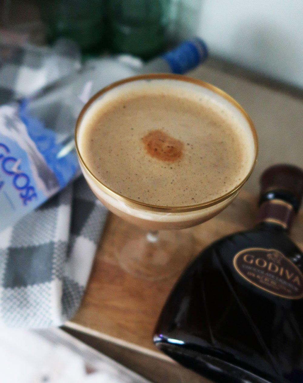 closeup of mocha espresso martini